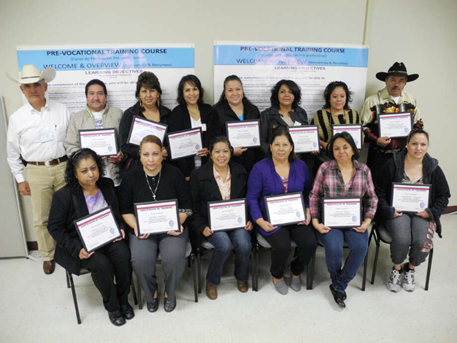 Gail M. Williams/Plainview HeraldThe morning Aptitudes in Motion class: Instructor Mario Avila (back, left), Humberto Espino, Cristina Luna, Ana Puentes, Maria Castillo, Laura Arellano, Elva Cedillo, Rodolfo Velazquez, Lourdes Nunez (front, left), Alicia Galva, Juana Perez, Maria Lopez, Maria Perez and Rosalinda Velazquez