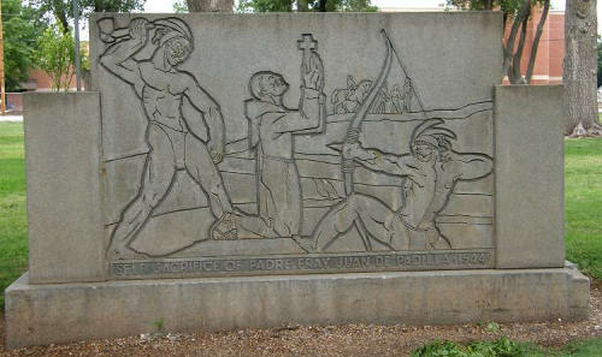 Barclay Gibson/Texas EscapesA 1936 monument in Amarillo's Elmwood Park recognizes the martyrdom of Father Fray Juan de Padillo who performed a Thanksgiving Mass in Palo Duro Canyon in 1541 while traveling with Francisco Vasquez de Coronado.