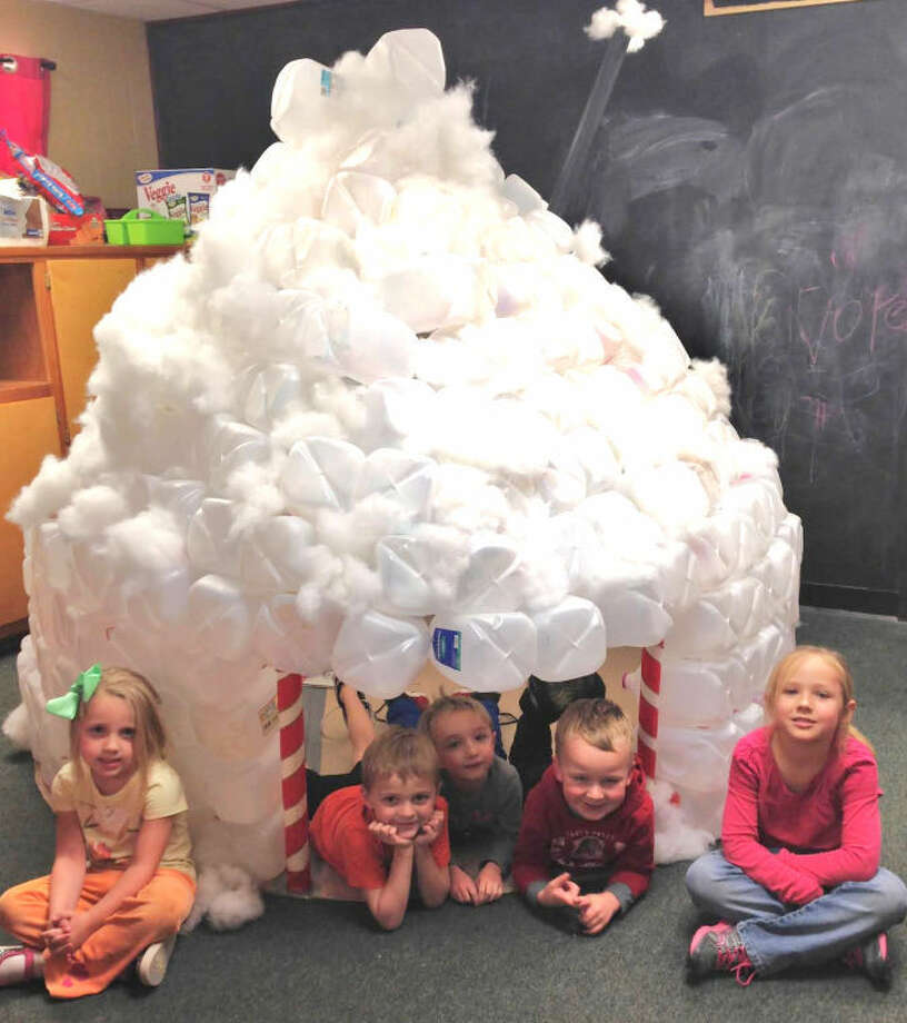 Courtesy PhotoPlainview Christian Academy pre-k and kindergarteners have been busy. For two weeks, they collected 400 milk jugs to construct a classroom igloo. Shown in the seasonal structure are Sadie Dickerson (left), Jaxon Meek, Cole Wyatt, Andrew Dietrich and Allison Sutterfield. Bethany Williams is kindergarten teacher at PCA.
