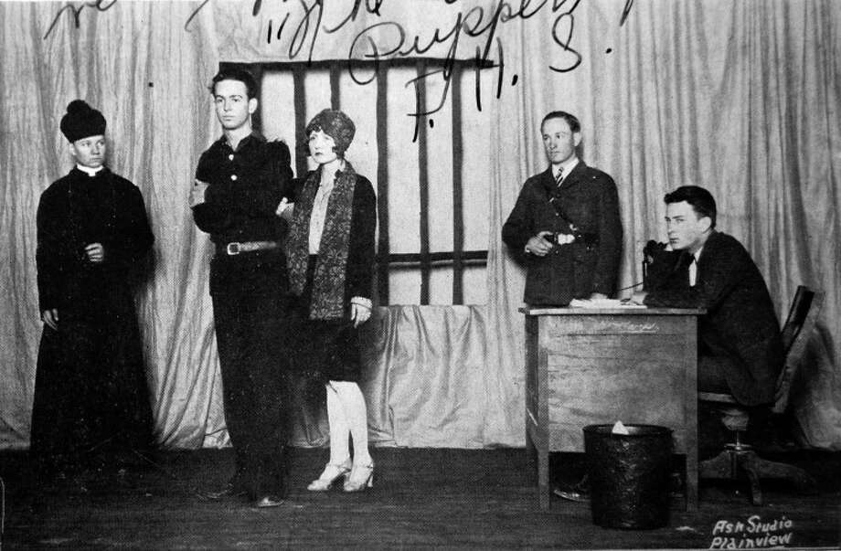 "The cast of the one-act play, ""The Valiant,"" which won state for Plainview High School, included Bob Flannigan (left) as Father Daly; Meldo Hankins as James Dyke; Fritz Rosser as Josephine Paris; Willie D. Cross as Wilson, the jailor; and Houston Biard as Warden Holt."
