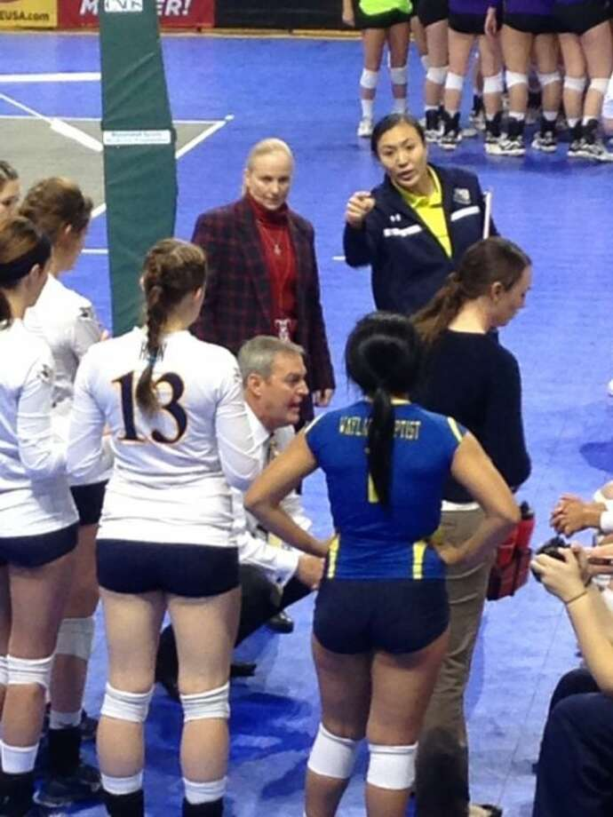 The Wayland Baptist Pioneers huddle during action Thursday at the NAIA Volleyball National Championships in Sioux City, Iowa. The No. 19 Pioneers advanced to the national  semifinals before losing to No. 1-ranked UT-Brownsville Saturday. Photo: Photo Courtesy Of Wayland Baptist University