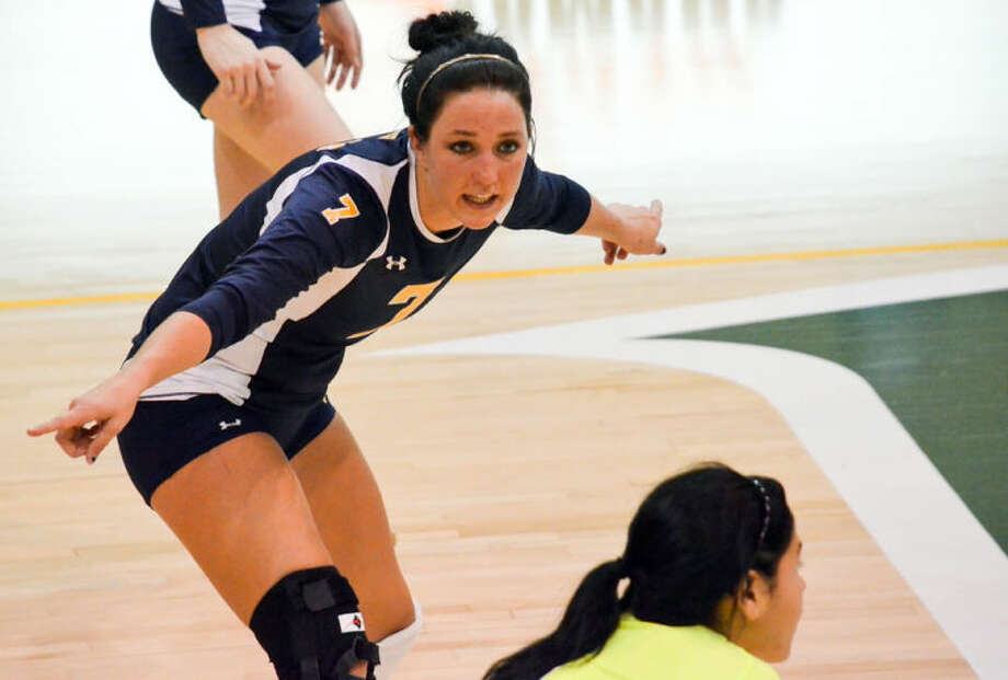 Emily Welch calls out instructions on the volleyball court during  a match earlier this season. The 2011 Plainview High School graduate was part of Wayland Baptist University's season for the ages as the Pioneers advanced to the national semifinals. Photo: Wayland Baptist University Photo