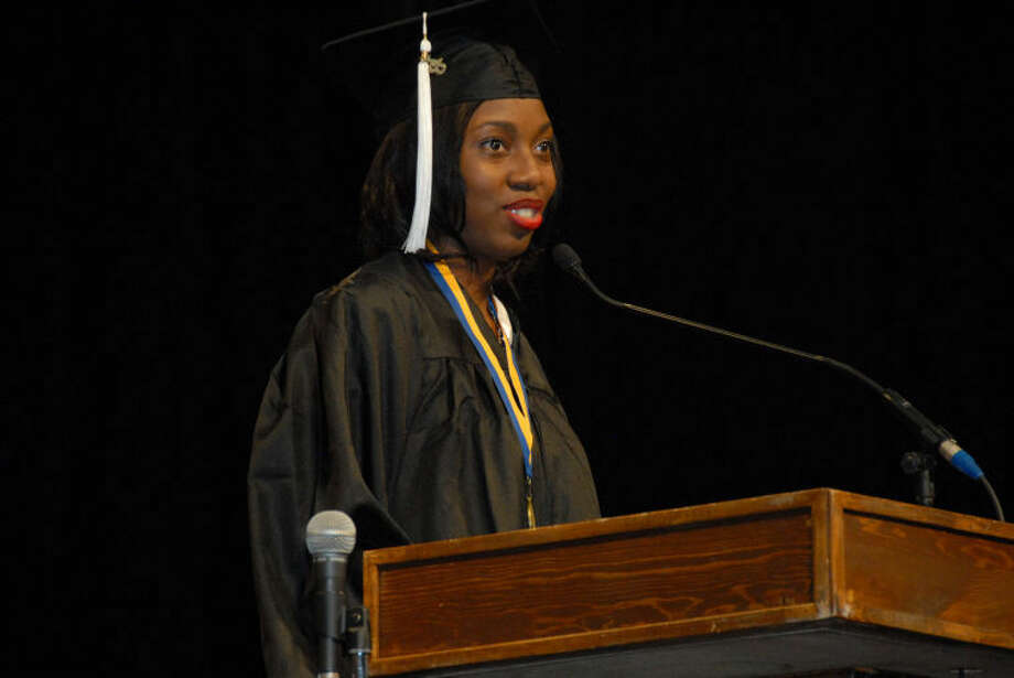 Dananai Semwayo, a political science major from Miami, Fla., gives the student address during graduation ceremonies at Wayland Baptist University on Saturday. Photo: Wayland Baptist Photo