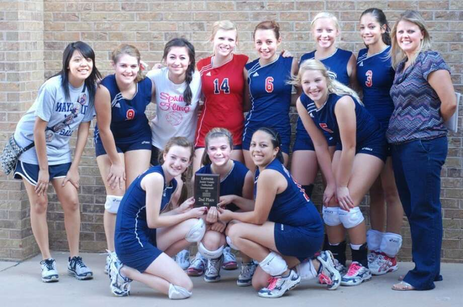Plainview's junior varsity volleyball team took second place at a tournament in Lamesa over the weekend. Pictured are (back, from left) Jessica Landeros, Amanda Wiggs, Leesa Grimaldo, Chandra Andreas, Haley Jackson, Mady Bradshaw, Karli Wheeler and Coach Shelly Miller; (front) Meredith McDonough, Brooke Walker, Stacey De La Graza and Caroline Kinkaid.