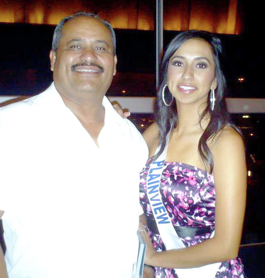 Courtesy PhotoMiss Plainview Jovanna Barrera poses with her father, Joe, during afamily break after competition Saturday night.