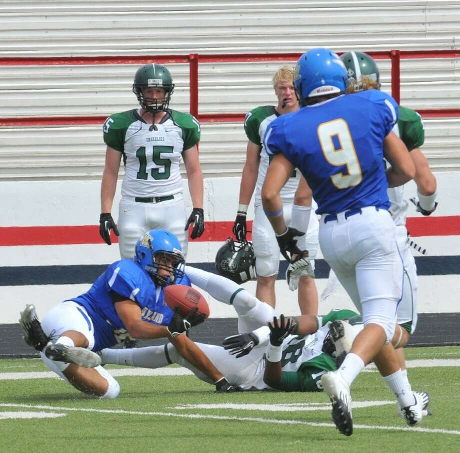 Wayland Pioneer Chance Garey makes the grab during the recent game against Adams State. WBU will return home this Saturday as the host Howard Payne University at 2 p.m. Photo: Richard Porter/Wayland Baptist University