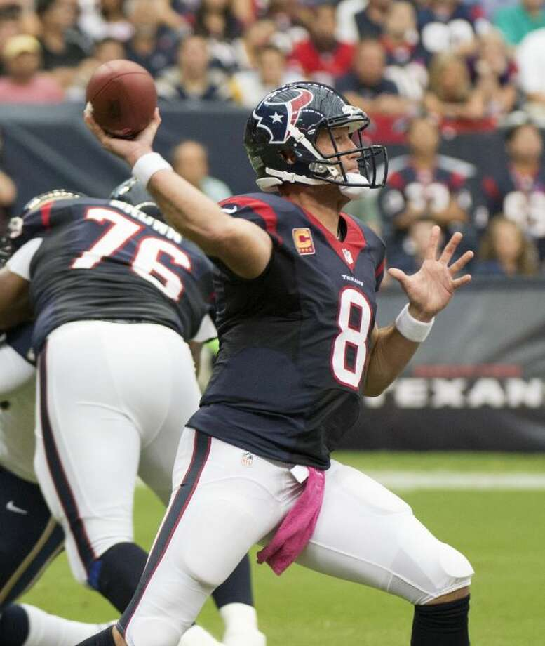 Matt Schaub (8) will start at quarterback for the Houston Texans against the Denver Broncos. It will be Schaub's first start since Oct. 13. Photo: George Bridges/MCT