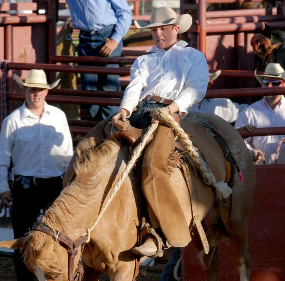 In this file photo, Sam Farris comes out of the chute during the Ranch Rodeo as part of last year's Cowboy Days celebration in Plainview. Photo: Richard Porter/Plainview Herald
