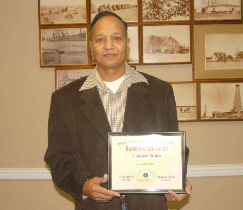 "Doug McDonough/Plainview HeraldPlainview's Comfort Suites, represented by owner Hari Kotalya, was honored Wednesday as the Chamber of Commerce Business of the Month. The motel has been a part of Plainview for the past 12 years, with Kotalya becoming owner about six years ago. Prior to that he had spent 20 years in the motel business in Los Angeles. Since coming to Plainview, he has expanded his business operations to include a second location in Plainview as well as one in Tulia. This past year has been a record one for the local Comfort Inn, he said, breaking all previous sales records. ""If I am doing good, then the community is doing good,"" he told Chamber of Commerce directors on Wednesday. ""During the next five years, you can bank on Plainview to grow and expand. Just get ready to settle down and be a part of that growth."""