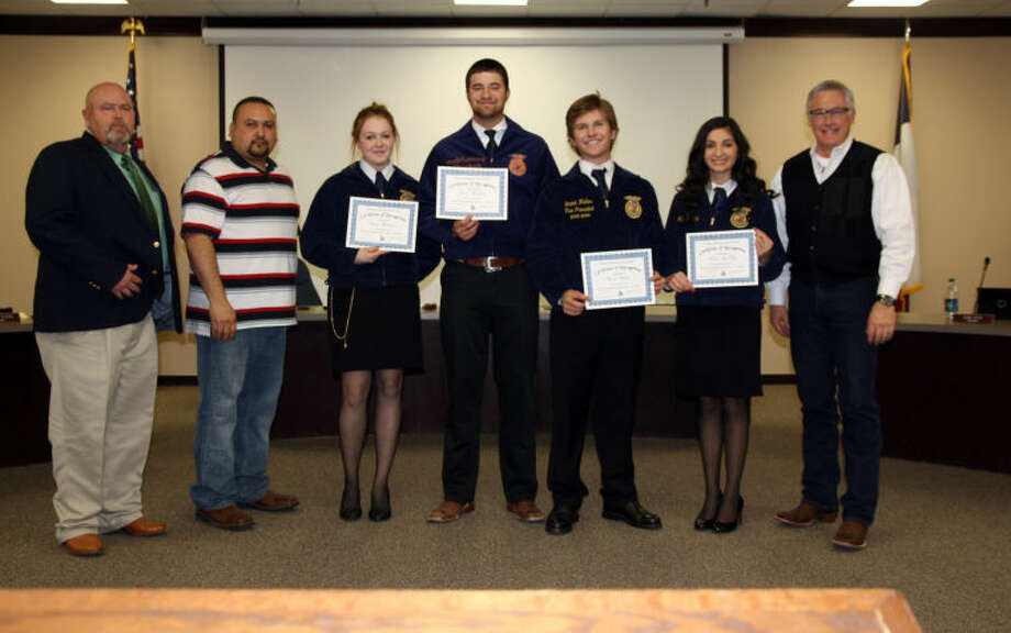 FFA Advisor Rick McKay (left), School Board Member Robert Rivera, Emily Williams, Jacob Richburg, Brock Walker, Madi McKay, and Superintendent of Schools Dr. Rockwell Kirk.