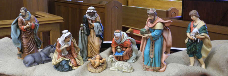 Wise men, shepherds, sheep and a donkey are all part of a crèche at Trinity Lutheran Church near Lockney. Crèche are used in many churches to help tell the story of the Christ child. Photo: Gail M. Williams | Plainview Herald