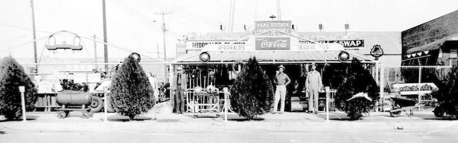 McDonald Trading Post, with founder John McDonald (left) and son Pete McDonald, was located on the site of Plainview's Central Fire Station in the late 1930s to early 1940s.