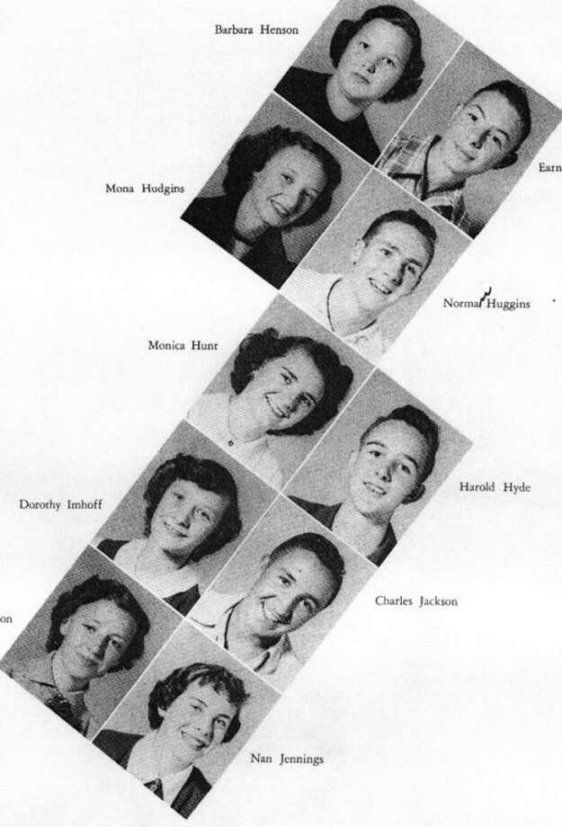 "Jerre Jackson's junior class picture is at the bottom left. Now Jerre Knoblock, she loaned her copy of the 1953 yearbook ""The Plain View"" to Unger Memorial Library for digitizing."