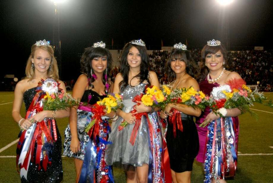 Plainview High School 2011 Homecoming Queen Sarah Patrick (center) is joined by her court following Friday night's homecoming ceremony. Court members are Hayley Horan (left), Lucy Isaguirre, Bethany Chavez and Brandi Martinez. Plainview lost the game to Dumas on the last play of the contest 36-35.