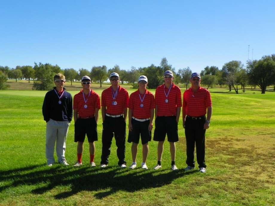 Second place finishers of the Dumas Invitational; left to right- Brock Walker, Thomas Wirth, Matt Jolly, Harrison Alford, Trent Kinkaid and coach Mike Lewis. Photo: Betsy Lewis/Plainview Herald