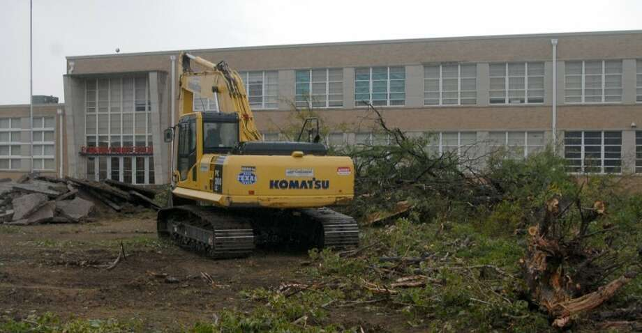 As is evident by a large tree that was uprooted Wednesday, construction has begun on the $10.9 million renovation project at Plainview High School. The work will be done in phases, with the first part of the project addressing general issues that must be taken care of regardless of the future use of the building. However, the school district ultimately will have to decide whether the campus will be converted to a junior high or kept as a high school before construction can be completed.