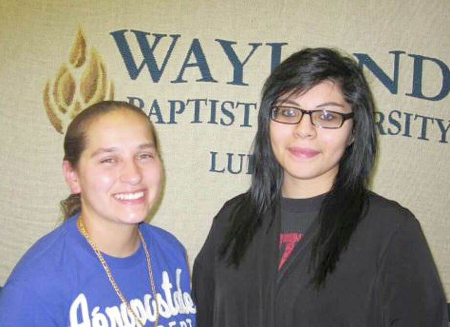 Mercedes Gonzales (left) and Harley Deleon are among the four recent graduates of Estacado High School in Lubbock who received $1,000 scholarships through the Lubbock Area Foundation.