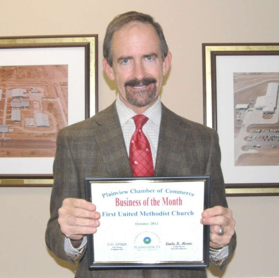 The First United Methodist Church, represented by Senior Pastor Jeff Taylor, was recognized Wednesday as the Chamber of Commerce Business of the Month. Taylor was associate pastor of the church during the 1980s under Senior Pastor R.L. Kirk. He grew up in Lubbock where his father was an announcer for KCBD-TV for 21 years, from the 1950s into the 1970s.  Photo: Doug McDonough