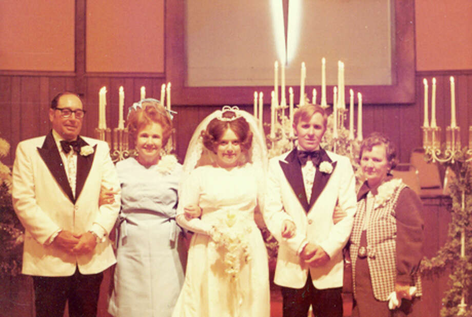 September 16, 1972: Left to right: Parents of the bride, Raymond and Chrystelle Gibson; bride and groom, Brenda and Wayne Keenum; and the groom's mother Sadie Keenum.