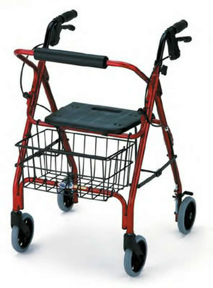 This is a photo of a new 4-wheel walker with seat.