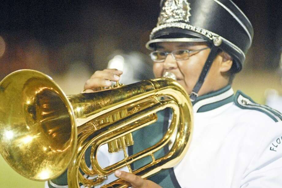 Floydada freshman Joseph Rosa plays the baritone during the Whirlwind band's halftime performance at Friday night's game against Tulia at Wester Field. Bands from across the area will perform in the UIL competition on Saturday at Lubbock Cooper's Pirate Stadium.