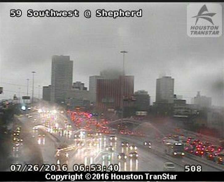 One person died in a traffic crash about 6:10 a.m. Tuesday, July 26, 2016, on the southbound Southwest Freeway near Kirby in southwest Houston. (Houston TranStar)