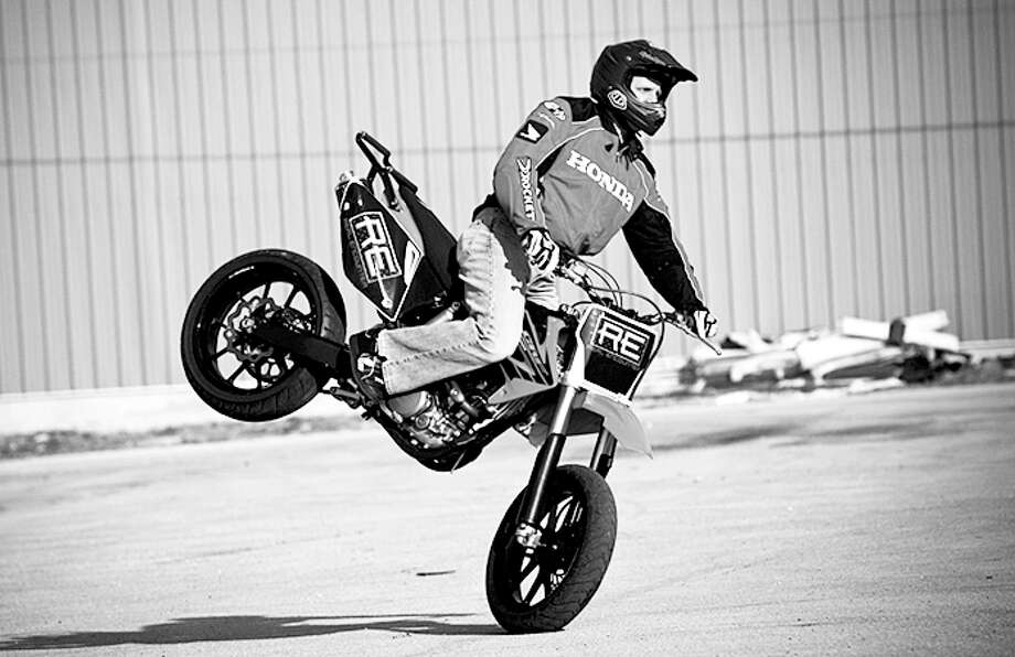A rider with Real Encounter Outreach performs a stunt. Real Encounter will be in the area next week performing at various school assemblies and leading a rally at Wayland. Photo: Courtesy Photo