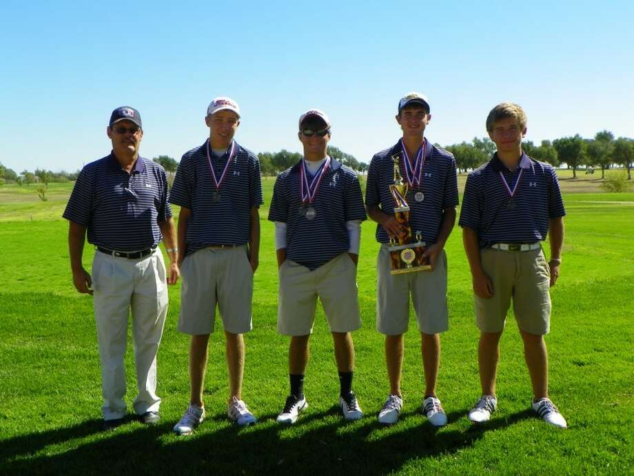 PHS golf team: Coach Mike Lewis, Trent Kinkaid, Thomas Wirth, Matt Jolly and Brock Walker. (Not pictured is Tim Gonzales.)