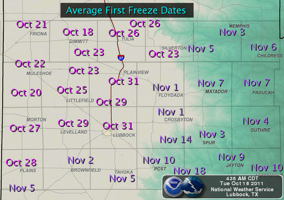 Average first freeze dates, courtesy National Weather Service in Lubbock.