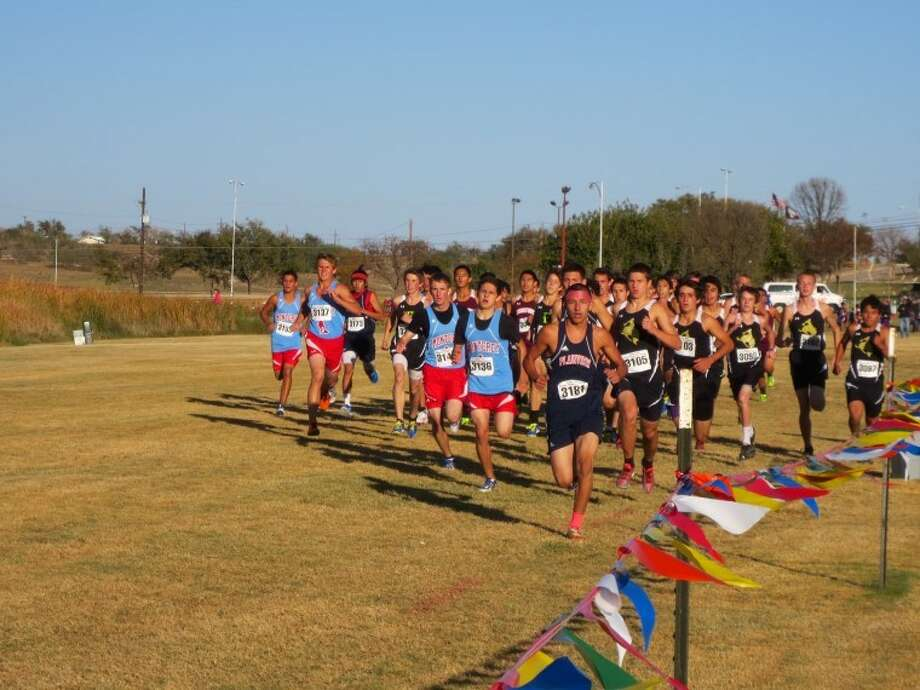 Bulldog cross country runner, Jarel Rosas leads the pack during last week's district meet at Mae Simmons in Lubbock.