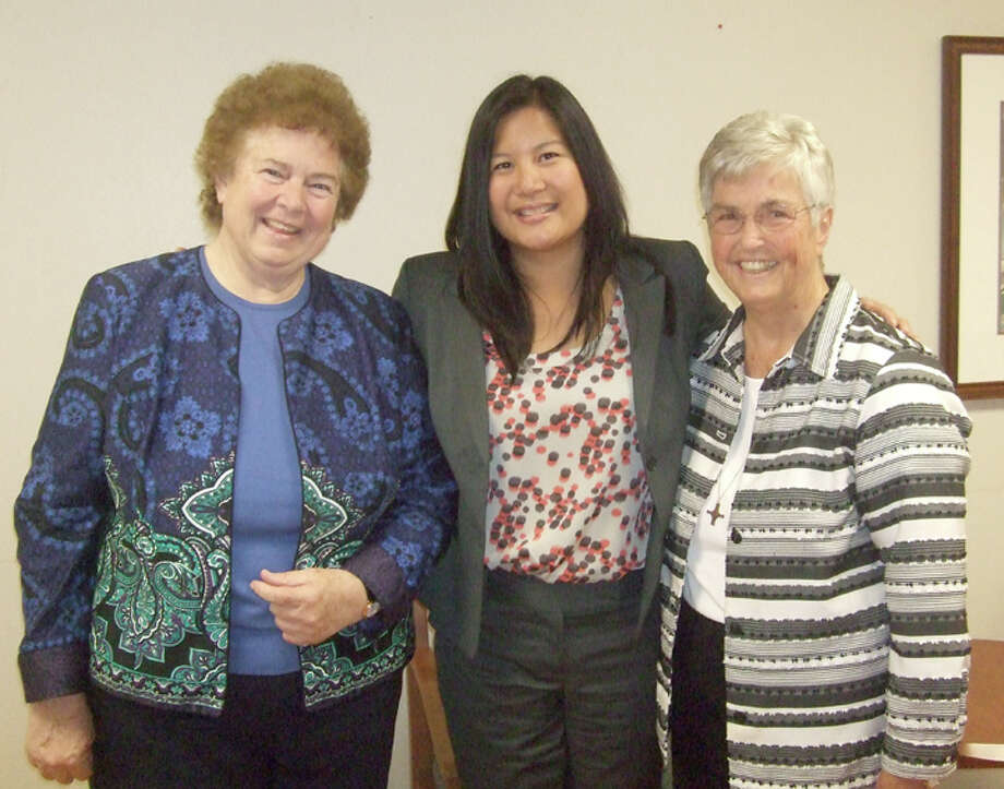 Covenant Hospital Plainview today hosted two nuns from parent organization St. Joseph Health Systems of California to help launch the hospital's chaplain program. After touring the facility, the sisters took part in a presentation and reception. Pictured are Sister Mary Therese Sweeney (left), director of mental health; Jo Ann Escasa-Haigh, senior vice president of finance; and Sister Suzanne Sassus, chair of health ministry and former general superior. Photo: Jessica Thornton/Plainview Herald