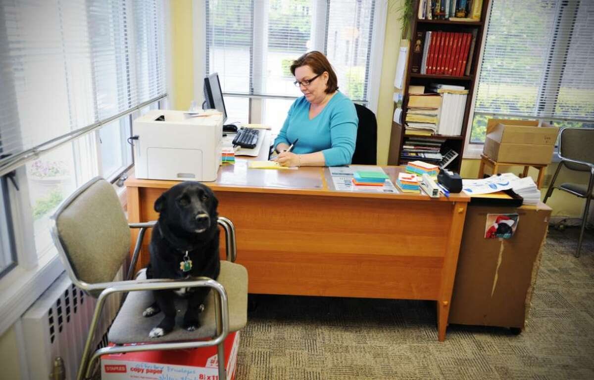 Sheila Holzweiss, the parish secretary, works at her desk in the parish office at St. Maurice Catholic Church with Toby, one of two dogs who spends time in the office, in Stamford, Conn. on Tuesday April 27, 2010.