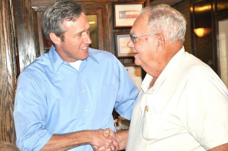 State Rep. Jim Landtroop (left) visits with Curtis Carlisle of Plainview during a campaign kickoff event earlier this week. Photo: Courtesy Photo