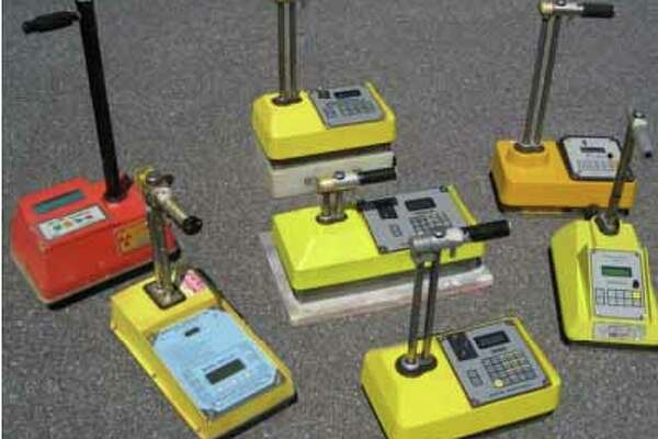 Display of various models of nuclear density gauges. A device of this type was reported stolen in Bridgpeort on Tuesday, July 26, 2016.