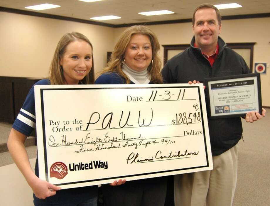 United Way office assistant Emilee Leftwich (left), campaign chair Cindy Wieland and Estacado Junior High Principal Ritchie Thornton display an oversized check for $188,658, representing that the campaign was at 44 percent of its goal at Thursday's report meeting. Estacado is one of eight schools with 100 percent participation in this year's effort to raise $425,000.
