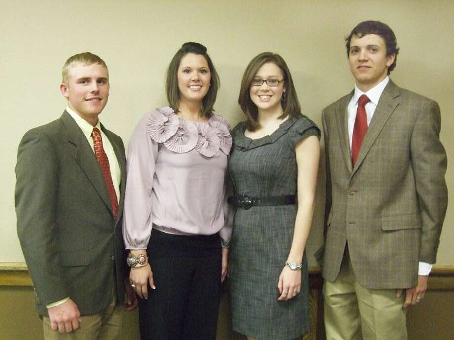 Four Plainview High School graduates attended Sunday evening's annual Cargill High Plains Intercollegiate Meat Judging Contest Awards Banquet sponsored by the American Meat Science Association at Plainview Country Club. Steven Ebeling (left) will be a member of next year's meat judging team at Texas Tech; Jessica Igo serves as coach of the Colorado State University team, which finished second in the Senior Division; Kaitlyn True, a junior at Tech, was fifth in the Alternate Division; and Travis Begley, also a junior at Tech, was first in the Alternate Division. Not pictured are Meagan Igo, who is set to coach next year's team at Texas A&M, and Dallas Marley, who will be a member of Tech's team in 2012. Photo: Kevin Lewis/Plainview Herald