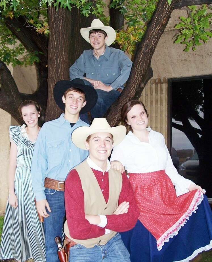 "M. Shane Harrell/Fair TheatrePlainview Christian Academy choir students Kenneth Landtroop (top), Shalin Lawson (left), Alex Sisemore, Tanner Morton and Shelby Maresca practice for a special production of ""Oklahoma!"" set to debut at the Fair Theatre on Friday and Saturday."