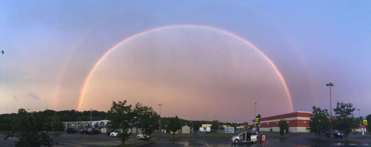 Double rainbow as seen in Danbury on Monday, July 25, 2016.
