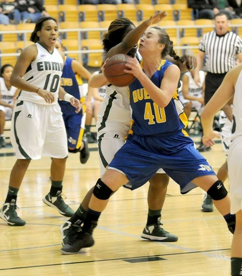 Wayland Baptist Flying Queen Aubrey Pedigo runs into a road block during a recent game against ENMU. Photo: Wayland Baptist University Photo