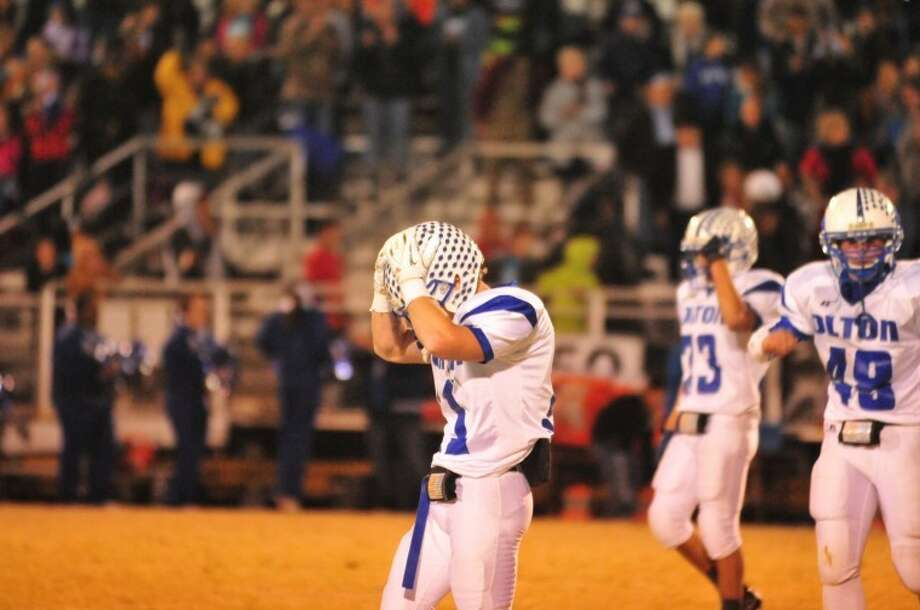 Olton Mustang senior receiver Pecos Martin reacts after time runs out during Friday's Class I-1A bi-district game. Photo: Ryan Thurman/Plainview Herald
