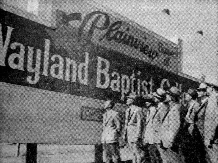 This billboard, at the corner of Fifth and Quincy, promoted Wayland Baptist College. It was erected in 1952 on land owned by Mrs. J.H. Wayland, widow of the school's founder. Photo: Herald File Photo