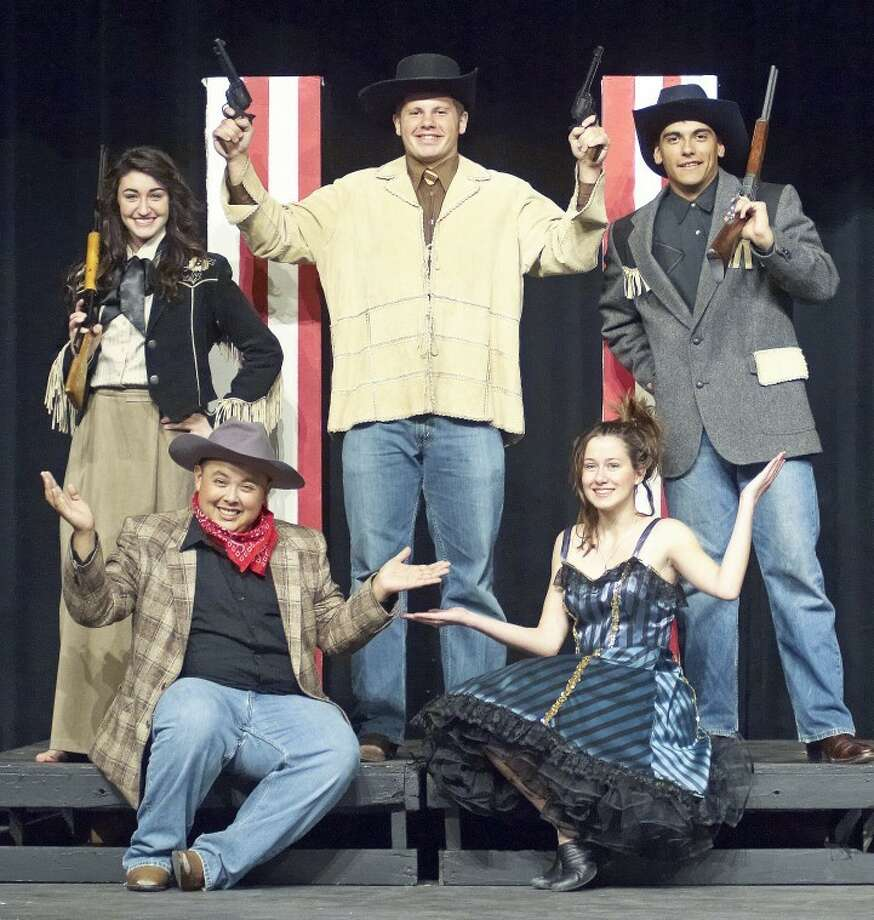 "Jason Johnson/Plainview HeraldCarley Hardage (left) portrays Annie Oakley in the PHS production of ""Annie Get Your Gun,"" which will be presented at 7:30 p.m. Thursday, Friday and Saturday nights at the PHS auditorium. Brendan Voss (center) is Buffalo Bill Cody and Pete Castillo is Frank Butler, Annie's love interest and rival for best shootist honors. Aaron Alcozar is Charlie Davenport and Courtney Derrick plays Dolly Tate. Tickets are $8 and $5, available at the door."