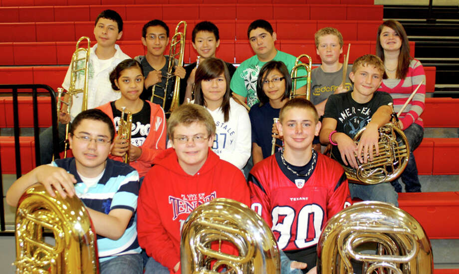 Jan Seago/Plainview ISDTwenty-four Estacado Junior High Honors Band students were selected to participate in the All-Region Band during recent auditions. Brass students selected to participate are Jonathan Gonzales (bottom left), Wiley Hawkins, Ethan Embry, Brittany Rincon (middle left), Magdalena Galaviz, Cassandra Delgado, Brian Switzenberg, David Batres (top left), Joshua Maldonado, Chris Ontai, Troy Velasquez, Jeremy Bowen and Whitney Neil.