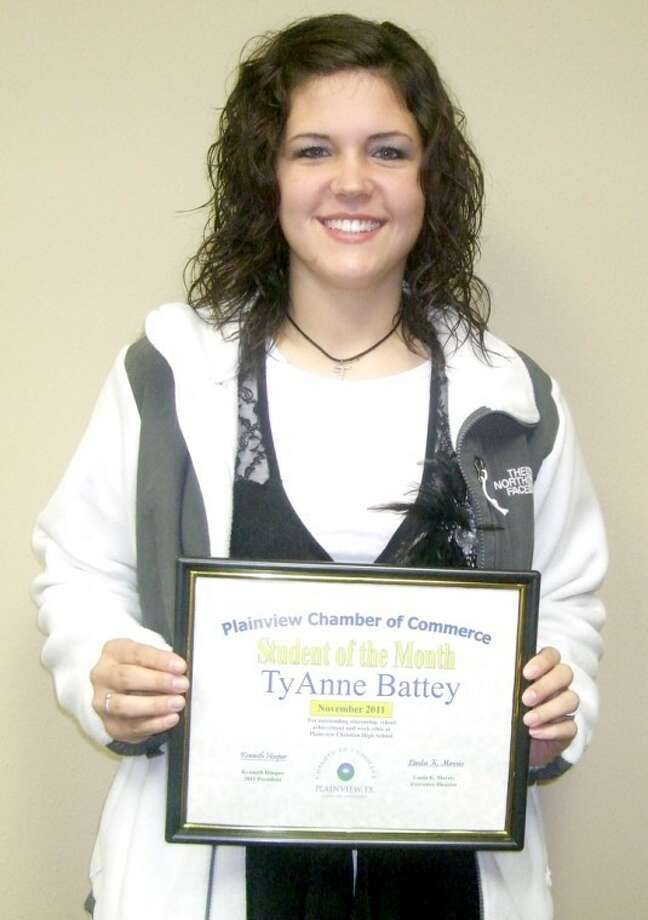 TyAnne Battey, a senior at Plainview Christian High School and the daughter of Jerry and Abby Battey of Floydada, was named Plainview Chamber of Commerce Student of the Month. Battey participates in choir, basketball and tennis and is a member of the National Honor Society and student council. She is involved in the youth group at First United Methodist Church in Floydada. Battey wants to play basketball at Wayland and major in sports medicine or athletic training. Photo: Kevin Lewis/Plainview Herald