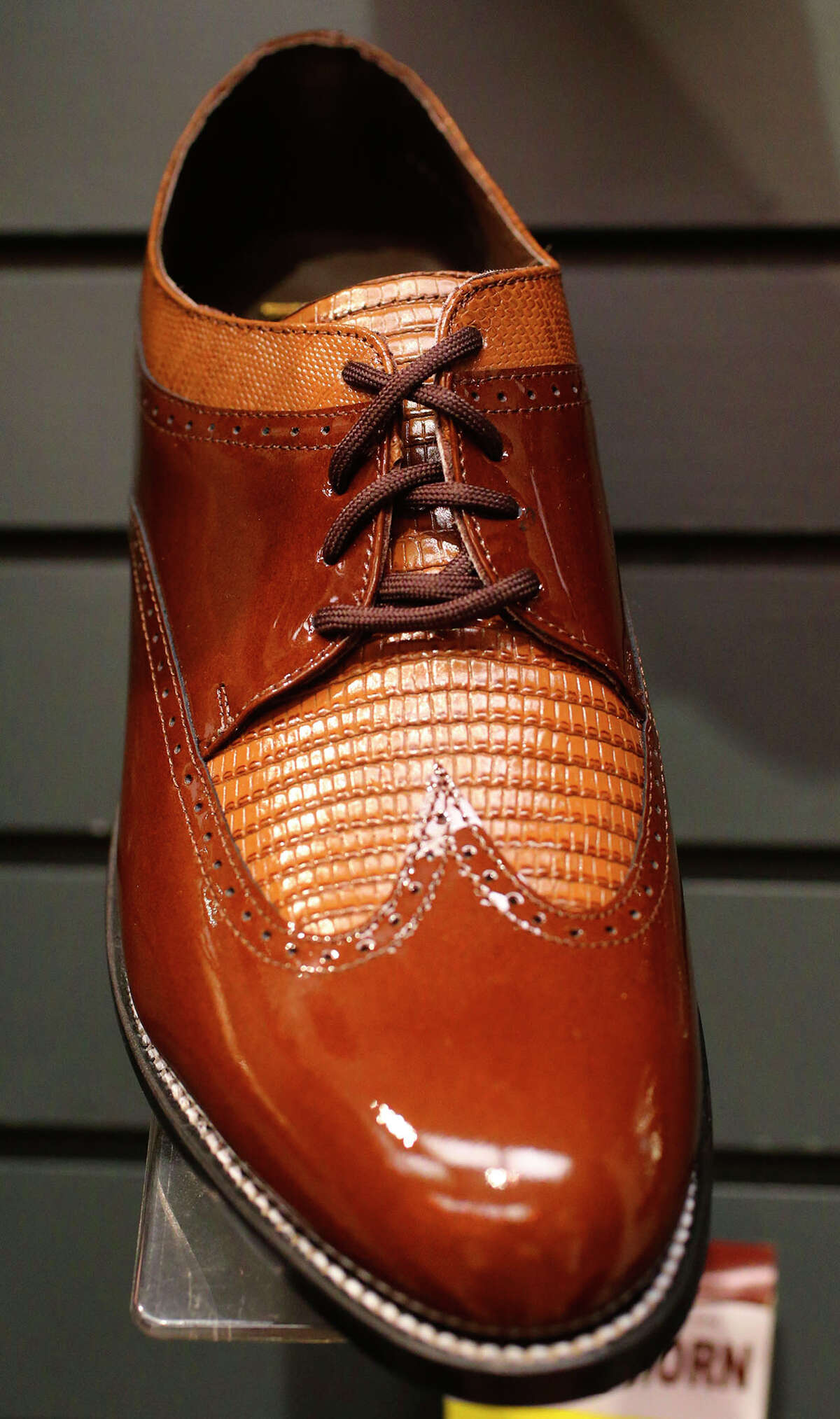 This is an example of the Stacy Adams shoes custom made for Penner's cothing store in downtown San Antonio. The store is celebrating its 100th year in business.