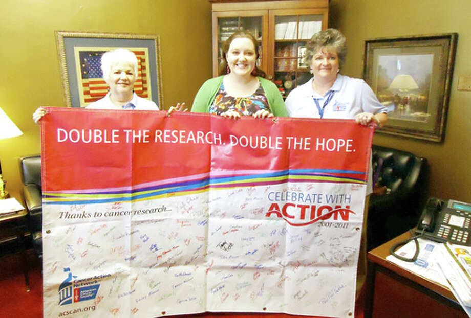 Daleyn Schwartz (right) of Plainview traveled to Washington, D.C., to lobby U.S. senators and congressmen on behalf of cancer research.
