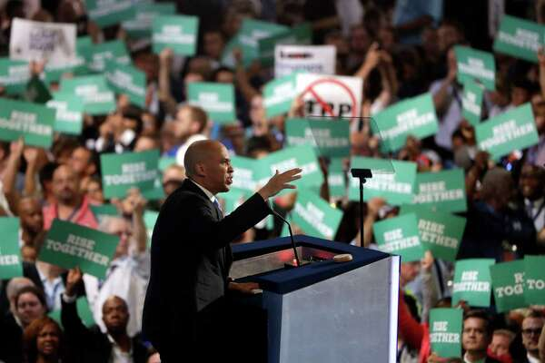 Sen. Cory Booker, D-NJ., speaks during the first day of the Democratic National Convention in Philadelphia , Monday, July 25, 2016.