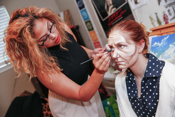 Recent Travis High School graduate Maddi Mays transforms her friend Taylor Winks, 17, into a 70-year-old using makeup and an outfit Mays designed and made in her home. A state champion in a University Interscholastic League contest for costume design, Mays will head to Santa Fe University of Art and Design on a Robert Redford/Milagro scholarship. Recent Travis High School graduate Maddi Mays transforms her friend Taylor Winks, 17, into a 70-year-old using makeup and an outfit Mays designed and made in her home. A state champion in a University Interscholastic League contest for costume design, Mays will head to Santa Fe University of Art and Design on a Robert Redford/Milagro scholarship.