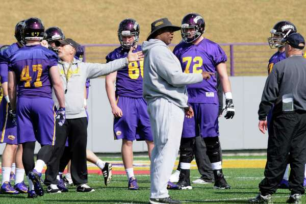 UAlbany football had their first practice of the spring at Bob Ford Field on Tuesday March 22, 2016 in Albany, N.Y. (Michael P. Farrell/Times Union)