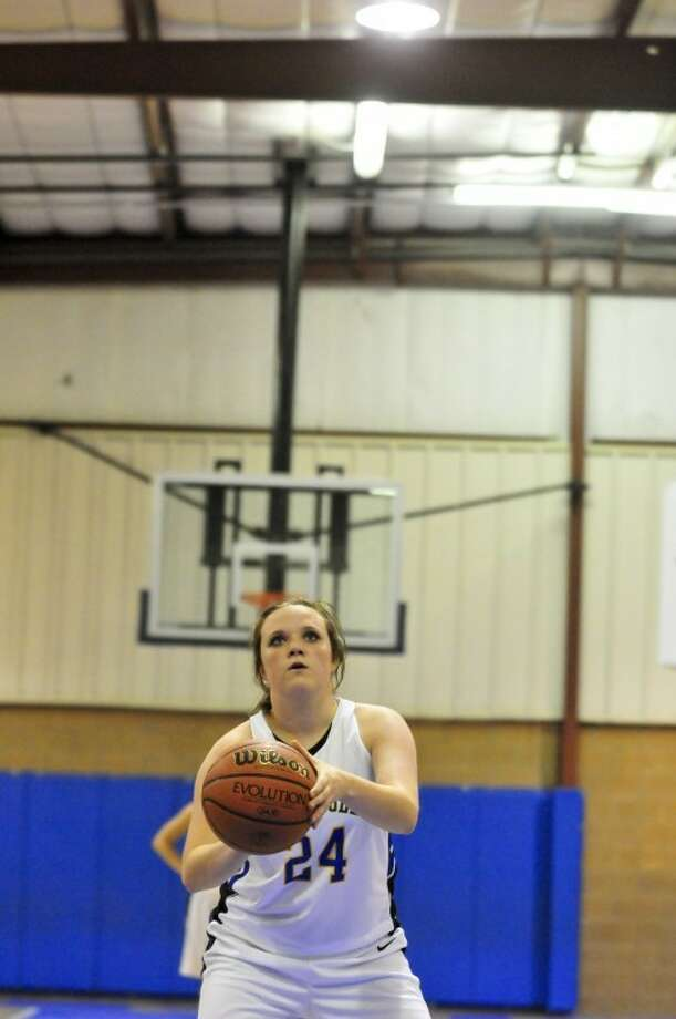 Plainview Christian's Shelby Maresca shoots a free throw during a recent home game. The Lady Eagles defeated Wellman-Union 55-27 to win the consolation championship at the Whitharral Invitational. Photo: Ryan Thurman/Plainview Herald